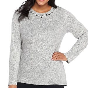 NWT The Limited Embellished Neck Top 3X
